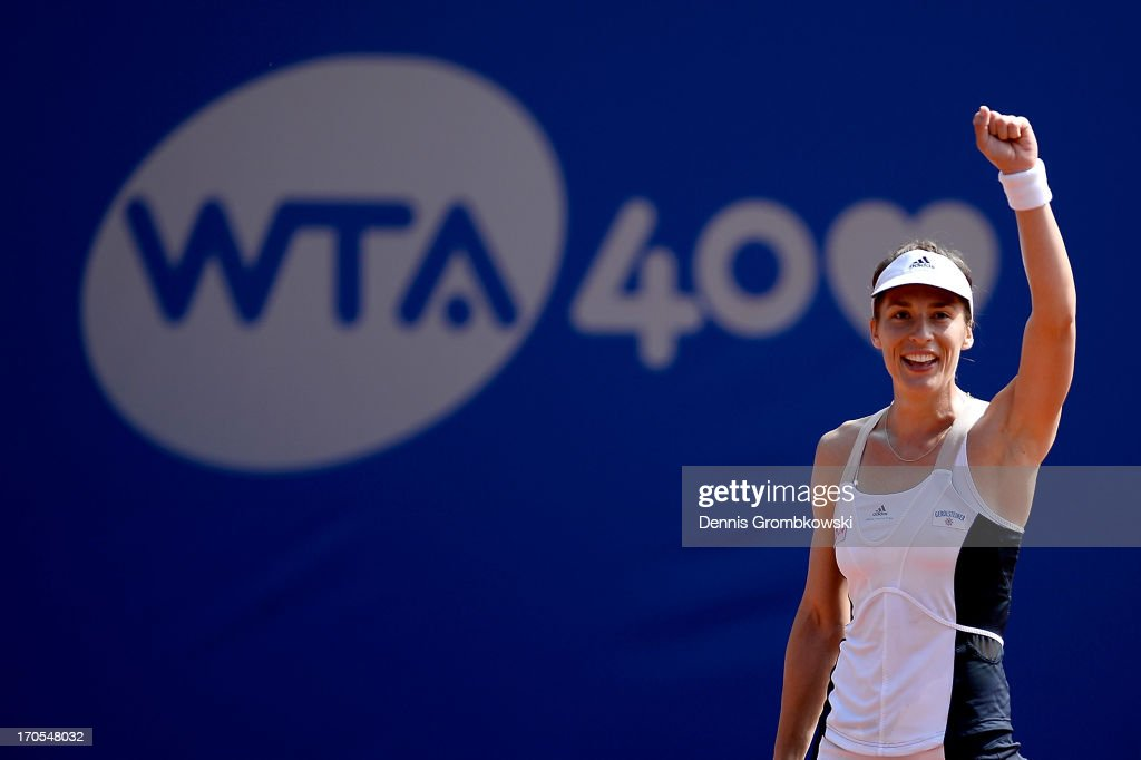 Andrea Petkovic of Germany reacts during her semifinal match against Jelena Jankovic of Serbia during day seven of the Nuernberger Insurance Cup on June 14, 2013 in Nuremberg, Germany.