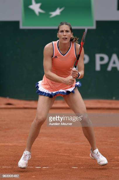 Andrea Petkovic of Germany reacts during her womens singles first round match against Kristina Mladenovic of France during day 2 of the 2018 French...