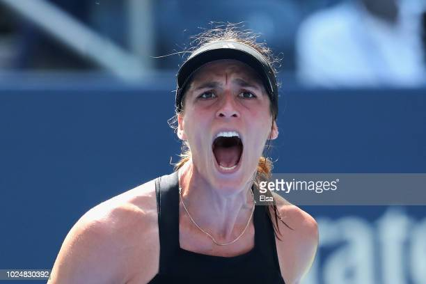 Andrea Petkovic of Germany reacts her women's singles first round match against Jelena Ostapenko of Latvia on Day Two of the 2018 US Open at the USTA...