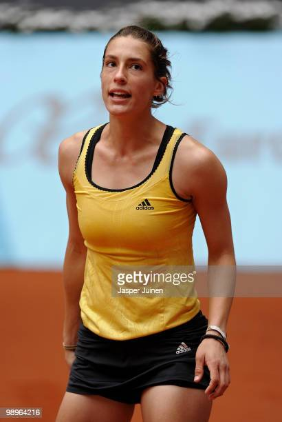 Andrea Petkovic of Germany reacts in her second round match against Flavia Pennetta of Italy during the Mutua Madrilena Madrid Open tennis tournament...
