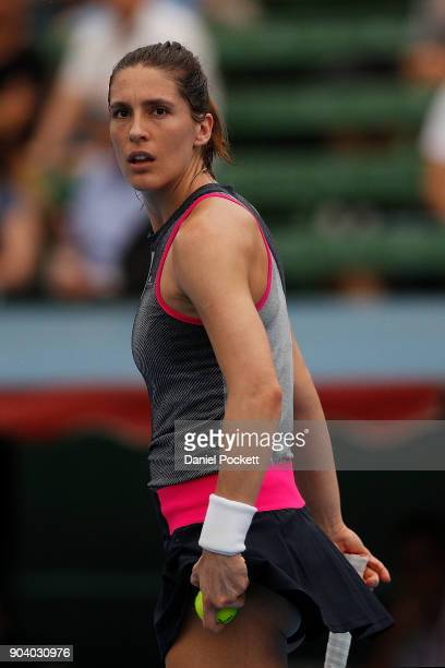 Andrea Petkovic of Germany reacts to the crowd during her match against Belinda Bencic of Switzerland during day four of the 2018 Kooyong Classic at...