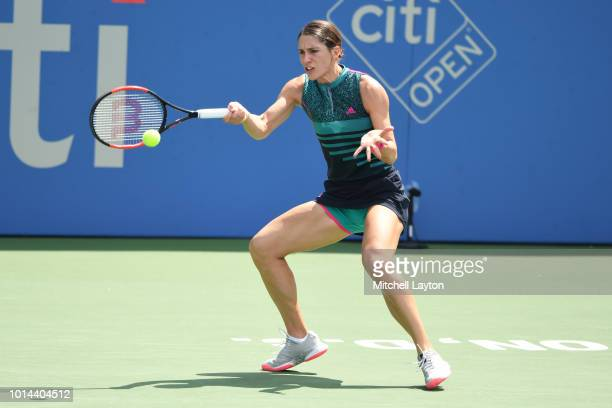 Andrea Petkovic of Germany returns a forehand shot to Sloane Stephens of the US during Day Five of the Citi Open at the Rock Creek Tennis Center on...