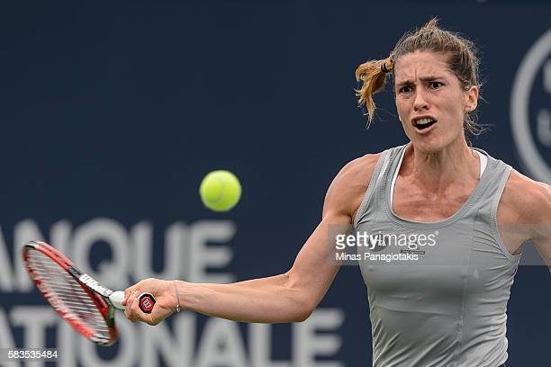 Andrea Petkovic of Germany returns the ball against Alize Cornet of France during day two of the Rogers Cup at Uniprix Stadium on July 26 2016 in...