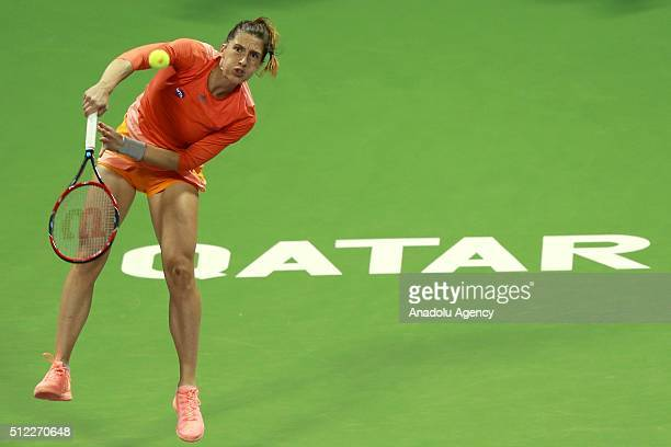 Andrea Petkovic of Germany returns the ball to Garbine Muguruza of Spain during the women's singles Qatar Open tennis tournament on February 25 2016...