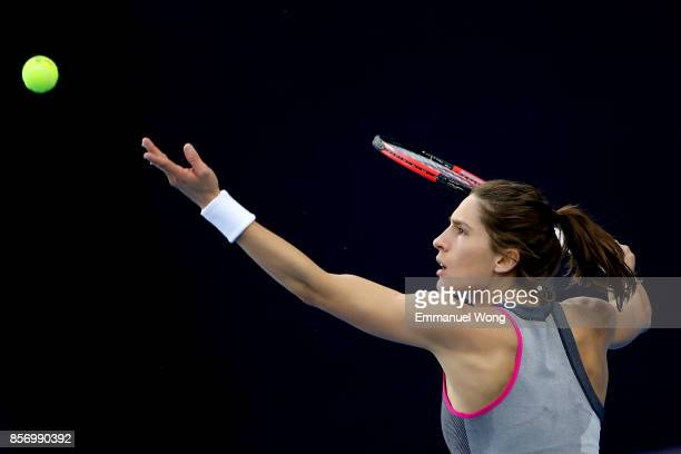 Andrea Petkovic of Germany serves against Karolina Pliskova of Czech Repubic on day four of the 2017 China Open at the China National Tennis Centre...