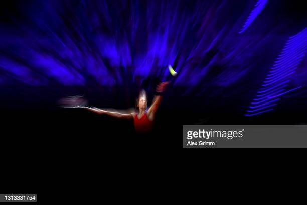 Andrea Petkovic of Germany serves on day 3 of the Porsche Tennis Grand Prix between Maria Sakkari of Greece and Andrea Petkovic of Germany at Porsche...