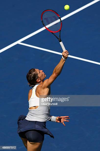 Andrea Petkovic of Germany serves to Johanna Konta of Great Britain during their Women's Singles Third Round match on Day Six of the 2015 US Open at...