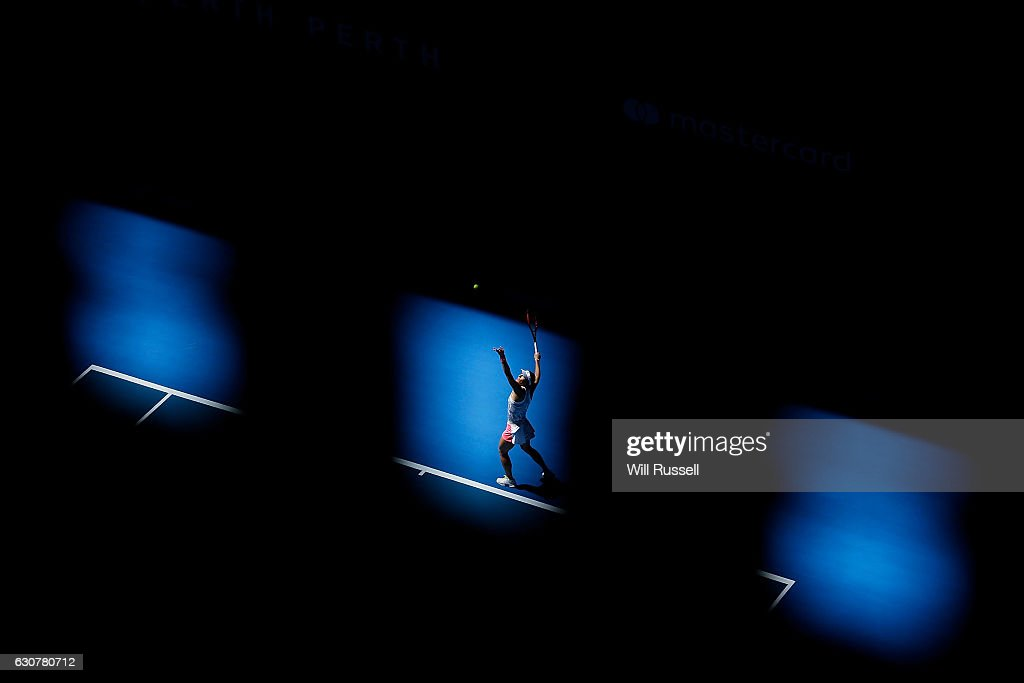 Andrea Petkovic of Germany serves to Kristina Mladenovic of France in the Womens single match on day two of the 2017 Hopman Cup at Perth Arena on January 2, 2017 in Perth, Australia.