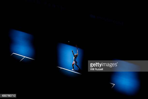 Andrea Petkovic of Germany serves to Kristina Mladenovic of France in the Womens single match on day two of the 2017 Hopman Cup at Perth Arena on...