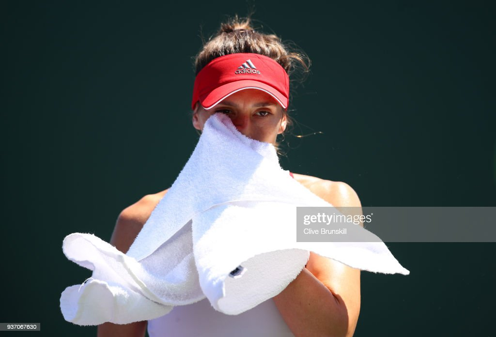 Andrea Petkovic of Germany shows her dejection against Daria Gavrilova of Australia in their second round match during the Miami Open Presented by Itau at Crandon Park Tennis Center on March 23, 2018 in Key Biscayne, Florida.