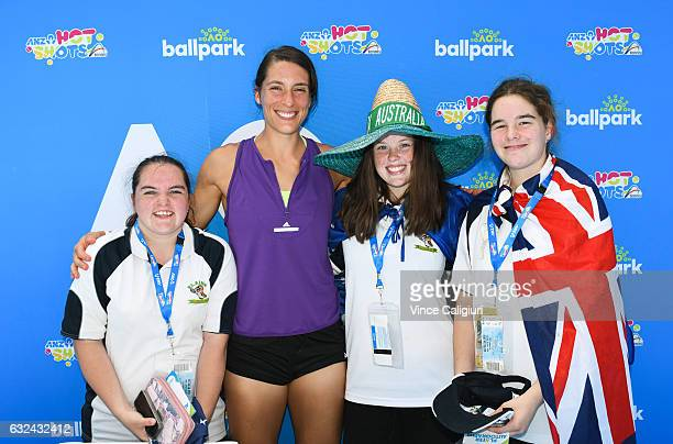Andrea Petkovic of Germany signing autographs at Autograph Island during day eight of the 2017 Australian Open at Melbourne Park on January 23 2017...