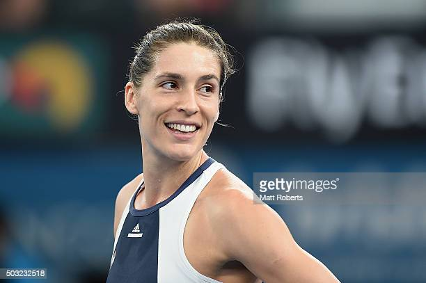 Andrea Petkovic of Germany smile during her match against Teliana Pereira of Brazil on day one of the 2016 Brisbane International at Pat Rafter Arena...