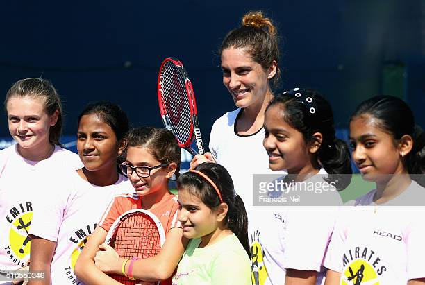 Andrea Petkovic of Germany takes part in a kids coaching clinic during day two of the WTA Dubai Duty Free Tennis Championship at the Dubai Duty Free...