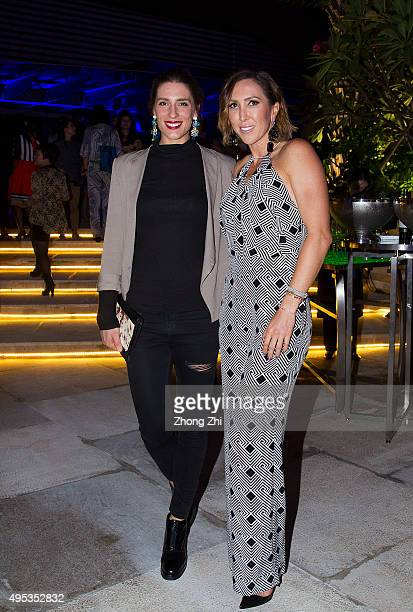 Andrea Petkovic poses for a photo with Jelena Jankovic during the player party on day 1 of Huajin Securities WTA Elite Trophy Zhuhai at Sheraton...