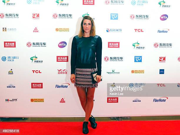 Andrea Petkovic poses for a picture at the red carpet at Wanda Realm Hotel on September 27 2015 in Wuhan China