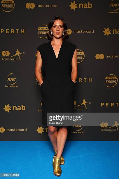 Andrea Petkovic poses on the blue carpet during the Hopman Cup New Year's Eve Gala at the Crown Perth on December 31 2016 in Perth Australia