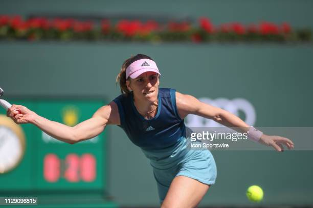 Andrea Petkovic reaches for a forehand during the BNP Paribas Open on March 7 2019 at Indian Wells Tennis Garden in Indian Wells CA