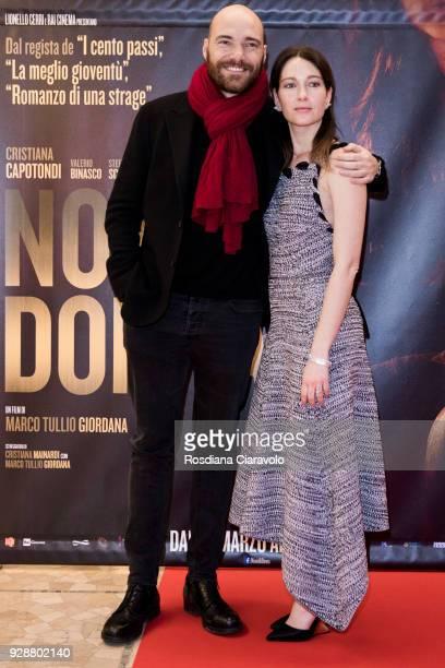 Andrea Pezzi and Cristiana Capotondi attend 'Nome di Donna' premiere on March 7 2018 in Milan Italy