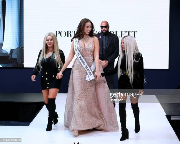 Andrea Piecuch and designers Portia Scarlett Couture walk the runway Special Showcase by Celebrity Jeweler Mike Nekta New York during NYFW Powered By...