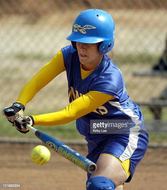 Andrea Pillado of Cal State Bakersfield bunts during 64 loss to Cal State San Bernardino in the second game of a California Collegiate Athletic Assn...