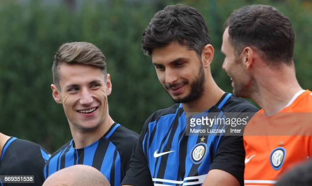 Andrea Pinamonti and Andrea Ranocchia of FC Internazionale back stage during the FC Internazionale Official Photoshoot at the club's training ground...