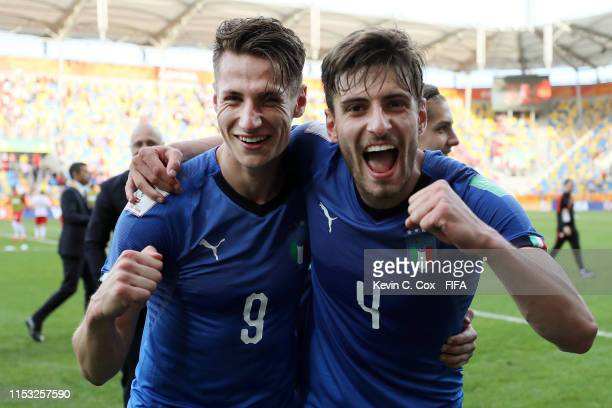 Andrea Pinamonti and Matteo Gabbia of Italy celebrate following the 2019 FIFA U20 World Cup Round of 16 match between Italy and Poland at Gdynia...