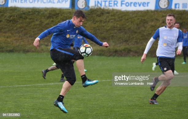 Andrea Pinamonti and Milan Skriniar of FC Internazionale in action during the FC Internazionale training session at Appiano Gentile on April 3 2018...
