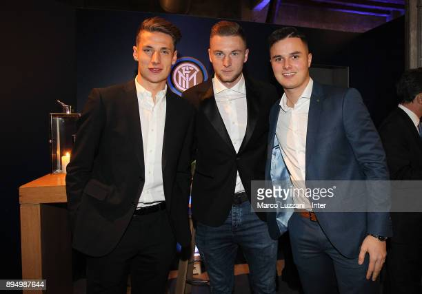 Andrea Pinamonti Milan Skriniar and Zinho Vanheusden of FC Internazionale attend FC Internazionale Christmas Party on December 18 2017 in Milan Italy