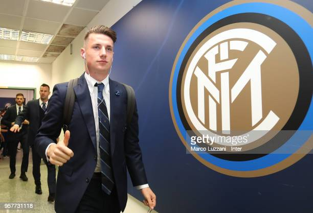 Andrea Pinamonti of FC Internazionale arrives prior to the serie A match between FC Internazionale and US Sassuolo at Stadio Giuseppe Meazza on May...