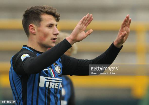 Andrea Pinamonti of FC Internazionale celebrates after scoring the opening goal during the Serie A Primavera match between FC Internazionale U19 and...
