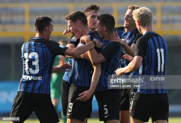 Andrea Pinamonti of FC Internazionale celebrates his goal with his teammates during the UEFA Youth League Domestic Champions Path match between FC...