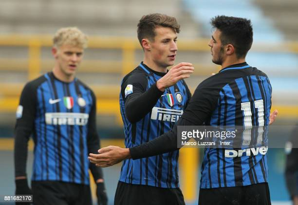 Andrea Pinamonti of FC Internazionale celebrates with his teammate Matteo Rover after scoring the opening goal during the Serie A Primavera match...