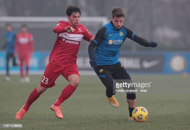 Andrea Pinamonti of FC Internazionale competes for the ball during the FC Internazionale training session at the Suning Training Center on January...