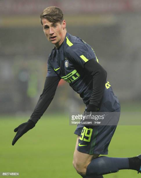 Andrea Pinamonti of FC Internazionale gestures during the TIM Cup match between FC Internazionale and Pordenone at Stadio Giuseppe Meazza on December...