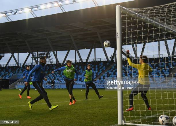 Andrea Pinamonti of FC Internazionale in action during a FC Internazionale U19 training session on February 19 2018 at Campus Etihad in Manchester...