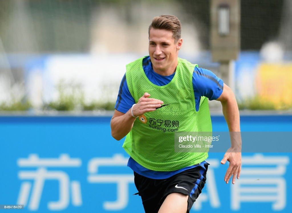 Andrea Pinamonti of FC Internazionale in action during a training session at Suning Training Center at Appiano Gentile on September 13, 2017 in Como, Italy.