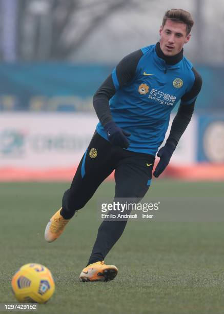 Andrea Pinamonti of FC Internazionale in action during the FC Internazionale training session at the Suning Training Center on January 20, 2021 in...