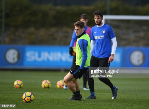 Andrea Pinamonti of FC Internazionale in action during the FC Internazionale training session at Suning Training Center at Appiano Gentile on...