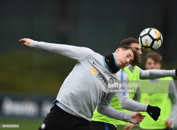 Andrea Pinamonti of FC Internazionale in action during the FC Internazionale training session at the club's training ground Suning Training Center in...