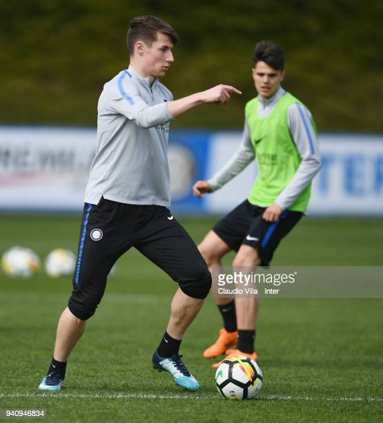 Andrea Pinamonti of FC Internazionale in action during the FC Internazionale training session at the Angelo Moratti Sports Centre on April 2 2018 in...