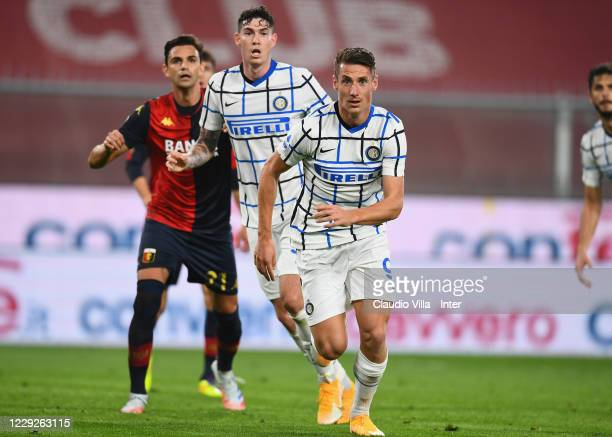 Andrea Pinamonti of FC Internazionale in action during the Serie A match between Genoa CFC and FC Internazionale at Stadio Luigi Ferraris on October...