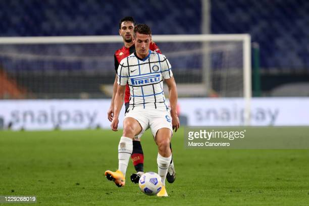 Andrea Pinamonti of FC Internazionale in action during The Serie A match between Genoa Cfc and FC Internazionale. Fc Internazionale wins 2-0 over...