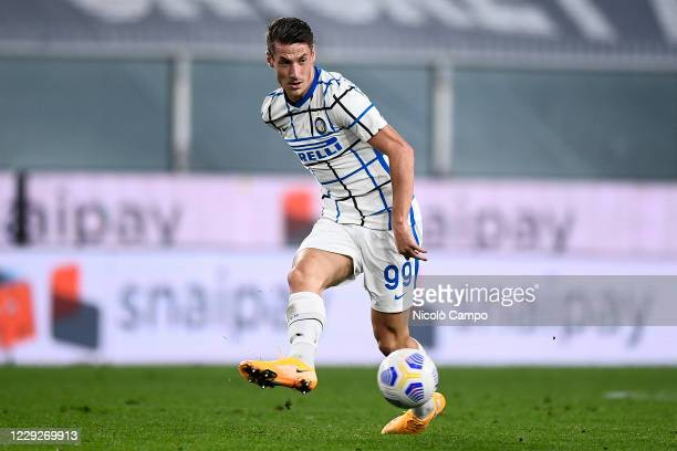 Andrea Pinamonti of FC Internazionale in action during the Serie A football match between Genoa CFC and FC Internazionale. FC Internazionale won 2-0...