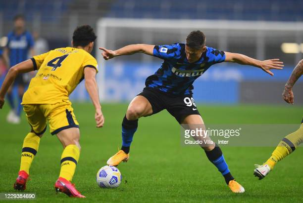 Andrea Pinamonti of FC Internazionale in action during the Serie A match between FC Internazionale and Parma Calcio at Stadio Giuseppe Meazza on...