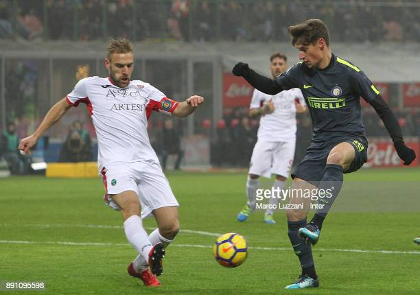 Andrea Pinamonti of FC Internazionale in action during the TIM Cup match between FC Internazionale and Pordenone at Stadio Giuseppe Meazza on...