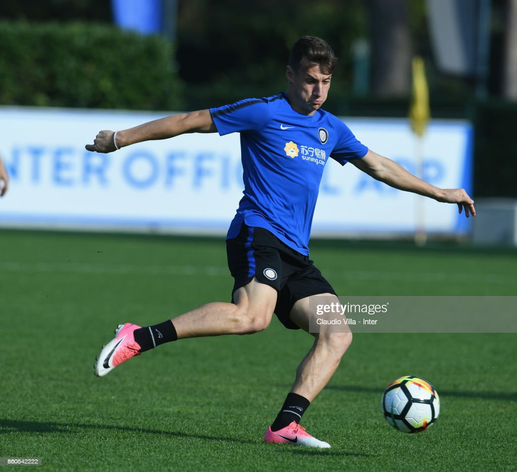 Andrea Pinamonti of FC Internazionale in action during the training session at Suning Training Center at Appiano Gentile on October 12, 2017 in Como, Italy.
