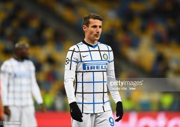 Andrea Pinamonti of FC Internazionale in action during the UEFA Champions League Group B stage match between Shakhtar Donetsk and FC Internazionale...