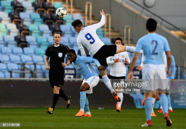 Andrea Pinamonti of FC Internazionale in action during the UEFA Youth League match between Manchester City and FC Internazionale at Manchester City...