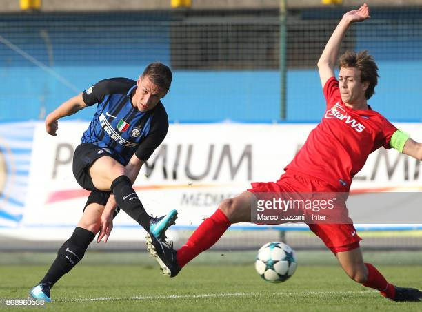 Andrea Pinamonti of FC Internazionale kicks a ball during the UEFA Youth League Domestic Champions Path match between FC Internazionale and Esbjerg...