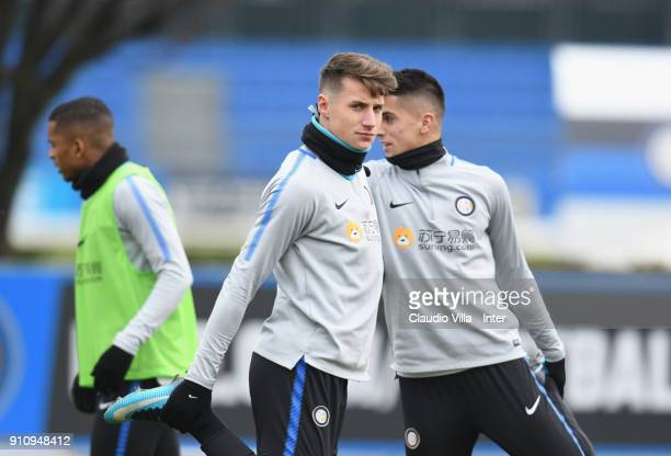 Andrea Pinamonti of FC Internazionale looks on during a FC Internazionale training session at Suning Training Center at Appiano Gentile on January 27...